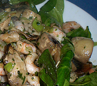 Feldsalat mit Shrimps und Champignons