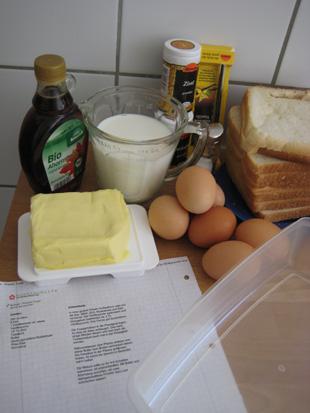 Zutaten für den French Toast