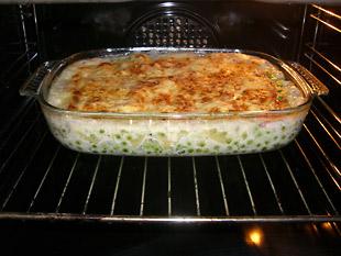 Schinken Erbsen Lasagne mit Käse überbacken - Rezept Bild