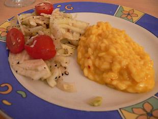 Safranrisotto mit Fenchelsalat