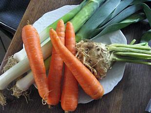 Lauch, Karotten und Sellerie