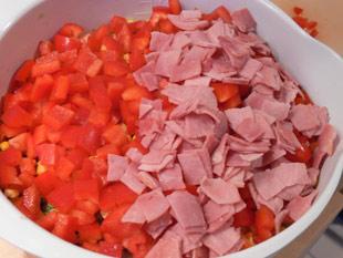 Paprika und Kochschinken