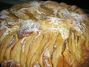 Birnenkuchen mit Puderzucker