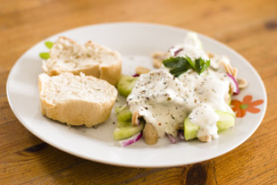 Gurken-Champignon Salat mit Joghurtdressing