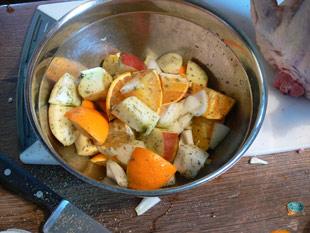 Füllung: Zwiebel, Apfel, Orange