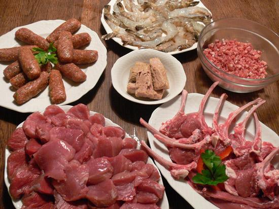 Fleisch und Fisch für den Raclette-Grill