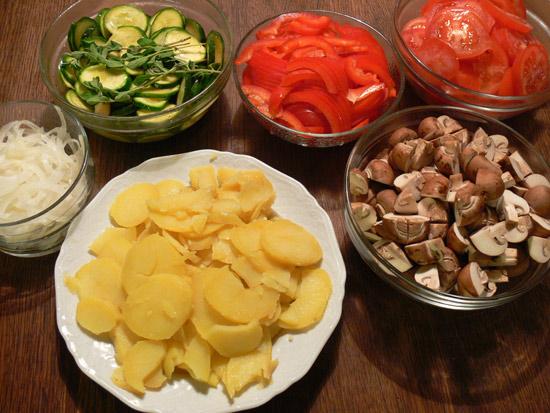 Gemüse in kleinen Stücken