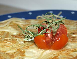 Wachteleier Omelette mit Spaghetti