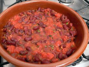 Bohnen und Tomaten Mischung