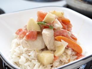 Gemüsehähnchen mit Reis