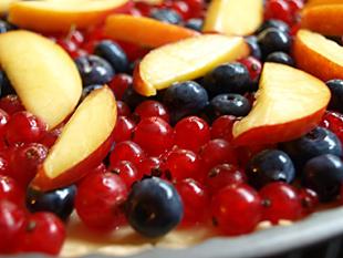 Nahaufnahme von Tarte mit Früchten
