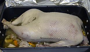 Gänsebraten nach 2 Stunden im Ofen