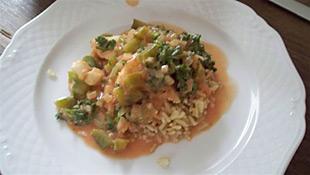 Fischgulasch mit Reis